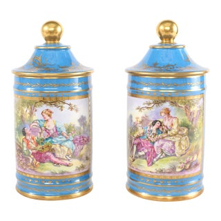 Large 19th Century Sevres Style Gilt Porcelain Covered Jars - a Pair For Sale