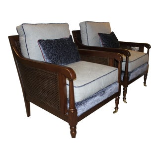 Robert Allen Duralee Group Tapak-Chairs With Exposed Wood and Cane With Lumbar Pillows - a Pair For Sale