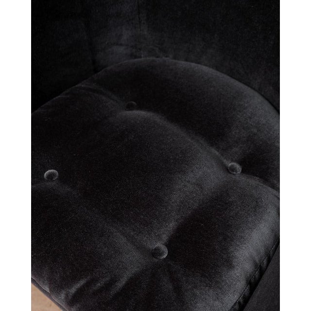 Cotton Mid-Century Modern Black Velvet Tub Barrel Chairs - a Pair For Sale - Image 7 of 9