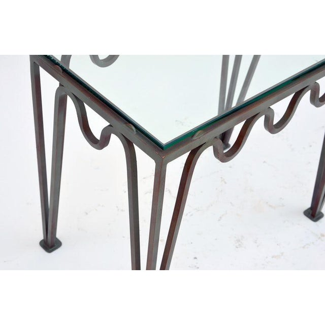 """Contemporary """"Méandre"""" Verdigris Iron and Glass Side Table For Sale In Los Angeles - Image 6 of 7"""