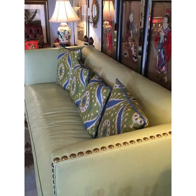 Vintage Lime Leather George Smith Knole Style Sofa For Sale In Philadelphia - Image 6 of 11