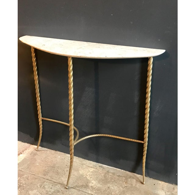 Art Deco Console Table With Marble Top and Brass Legs, Italy 1940s For Sale - Image 3 of 13