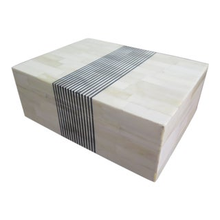 White Bone Box With Center Black Stripes For Sale