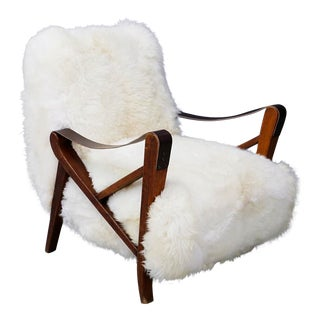 Maurizio Tempestini Rare Midcentury Armchairs in White Fur and Walnut, 1950s For Sale