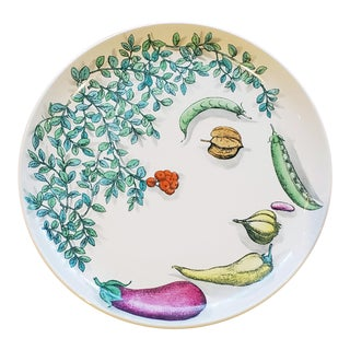 Piero Fornasetti Pottery Vegetalia Plate, #9 Rutino, 1950s. For Sale