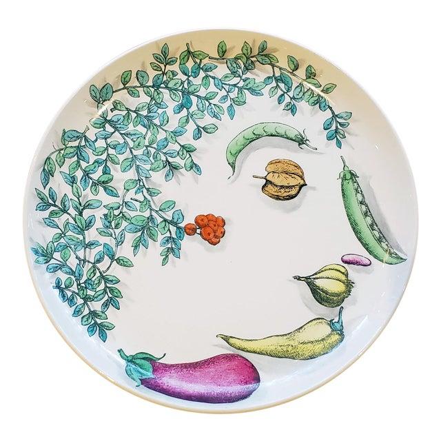 Piero Fornasetti Pottery Vegetalia Plate, #9 Rutino, 1950s. For Sale