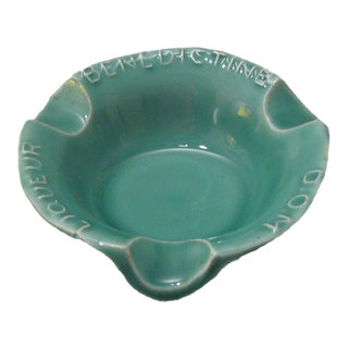 French Benedictine Turquoise Ashtray, C. 1950