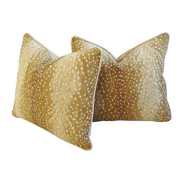 Designer Antelope Fawn Spot Velvet Pillows - Pair - Image 4 of 6