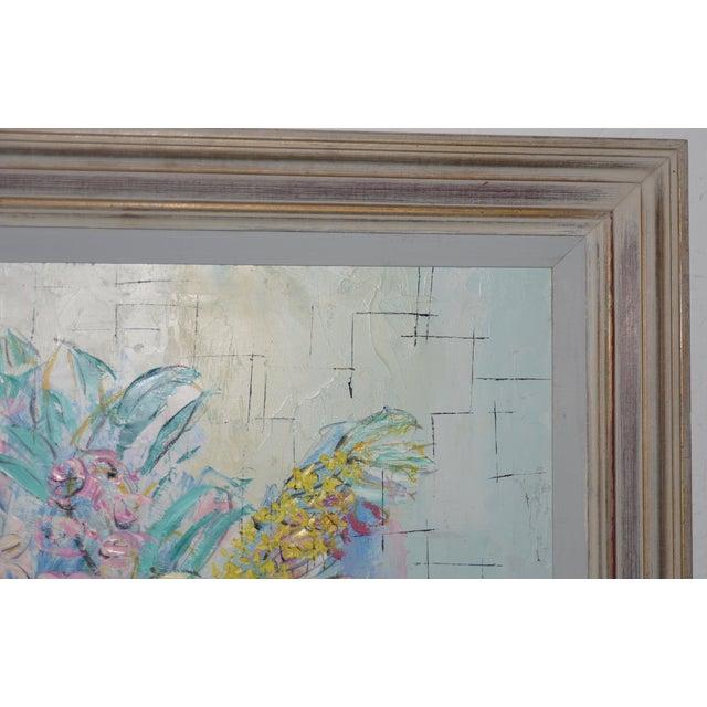 "Modern Marguerite Daniel ""Floral Still Life"" Original Oil Painting C.1960s For Sale - Image 3 of 8"