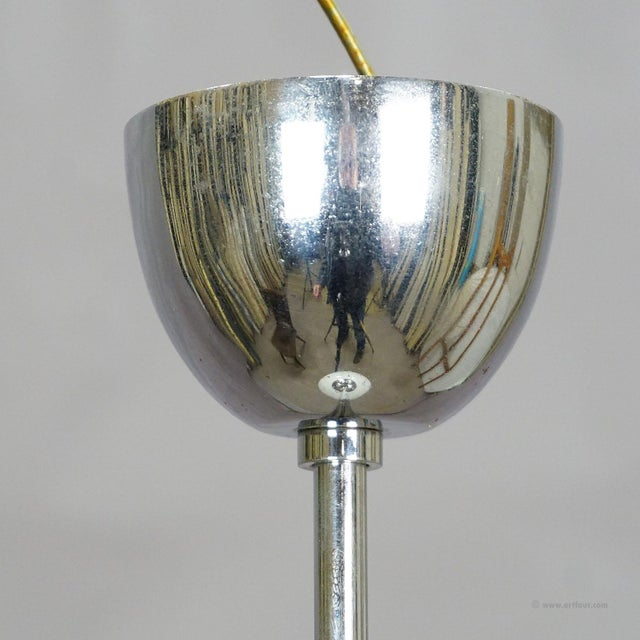 Antique Bauhaus Pendant Light With Large Opaline Glass Bowl For Sale - Image 4 of 5