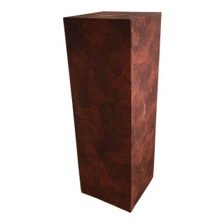 Canvas Covered Brown Pedestal With Faux Finished Texture For Sale
