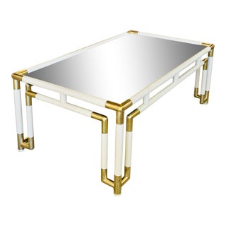Hollywood Regency Acrylic and Mirrored Coffee Table For Sale