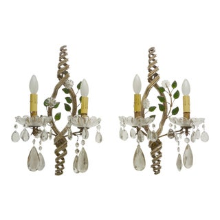 1950s Bagues Beaded and Floral Sconces - a Pair For Sale
