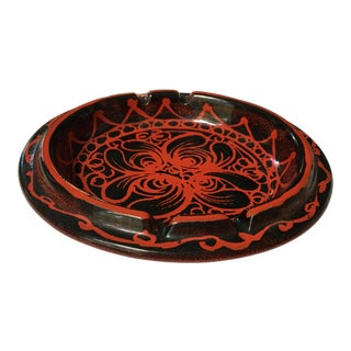 Made in Italy - Mid-Century Modern Red and Black Pottery Ashtray - Larger Size For Sale
