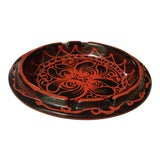 Image of Mid-Century Modern Red and Black Italian Pottery Ashtray - Larger Size For Sale