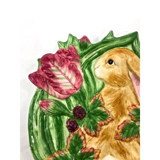 This is adorable Fitz and Floyd bunny rabbit plate is perfect for spring with blackberries and tulips. Use it as...