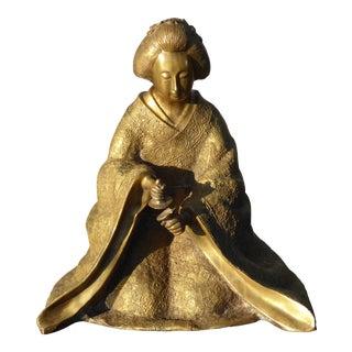 Vintage Oriental Asian Brass Geisha Woman Sitting Statue
