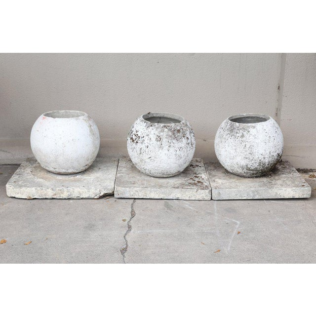 Mid-Century Modern Mid-Century French Cast Stone Sphere Planter Trio For Sale - Image 3 of 11