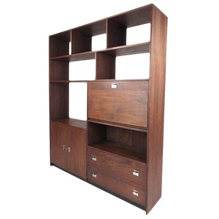 Mid-Century Modern Walnut Bookcase or Room Divider For Sale