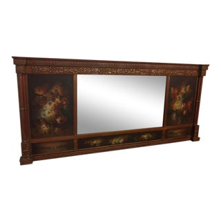19th Century Hand Painted Floral Wood Frame Mirror For Sale