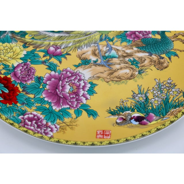 Canary Yellow Vintage Asian Modern Canary Yellow Ceramic Peacock Charger For Sale - Image 8 of 12