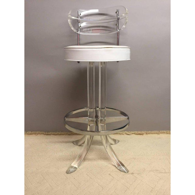 Glamorous Lucite, Chrome and Patent Leather Bar Stools -- A Pair - Image 5 of 6