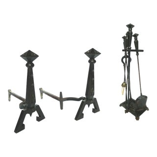 Pair of Bradley & Hubbard Antique Cast-Iron Andirons with Tool Set