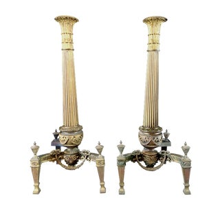 Antique French 19th Century Gilt on Bronze Andirons - A Pair