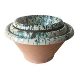 Image of Italian Spatter Glazed Terra Cotta Nesting Bowls-Set 3 For Sale