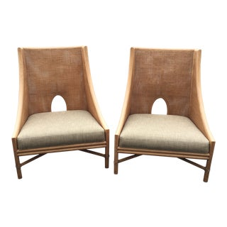 Modern Barbara Barry for McGuire Cane Rattan Lounge Chairs- A Pair For Sale