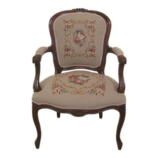 Early 20th Century French Louis XV Style Open Arm Chair For Sale