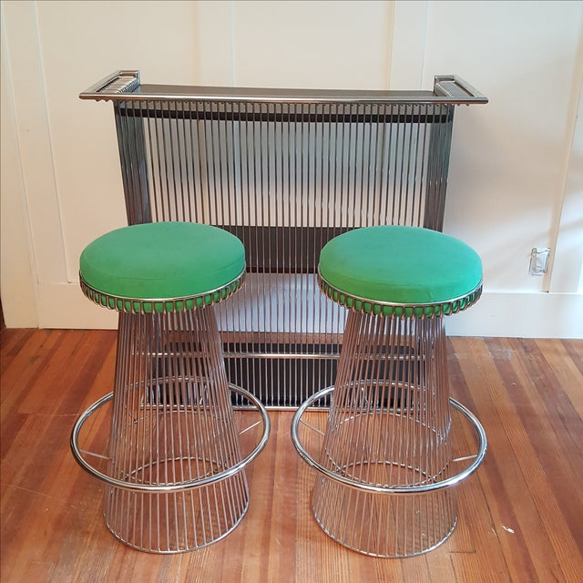 Mid Century Platner Style Bar Stools & Table Set - Image 2 of 11