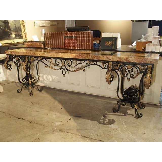 1920's French Forged Iron and Marble Console Table For Sale In Dallas - Image 6 of 13
