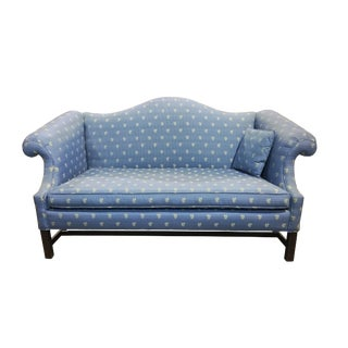 1960s Vintage Contemporary Blue Floral Upholstered Camel Back Settee For Sale