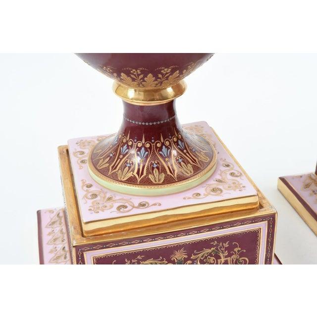 Antique Royal Vienna Porcelain Decorative Urns - a Pair For Sale - Image 4 of 13