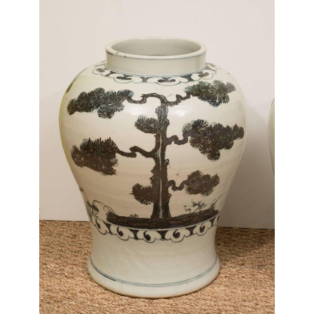 Pair of Black & White Chinese Export Jars - Image 8 of 9