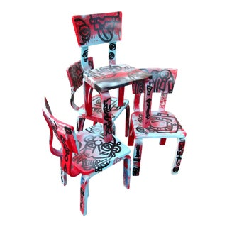 Thonet Graffiti Painted Children's Chairs - Set of 4