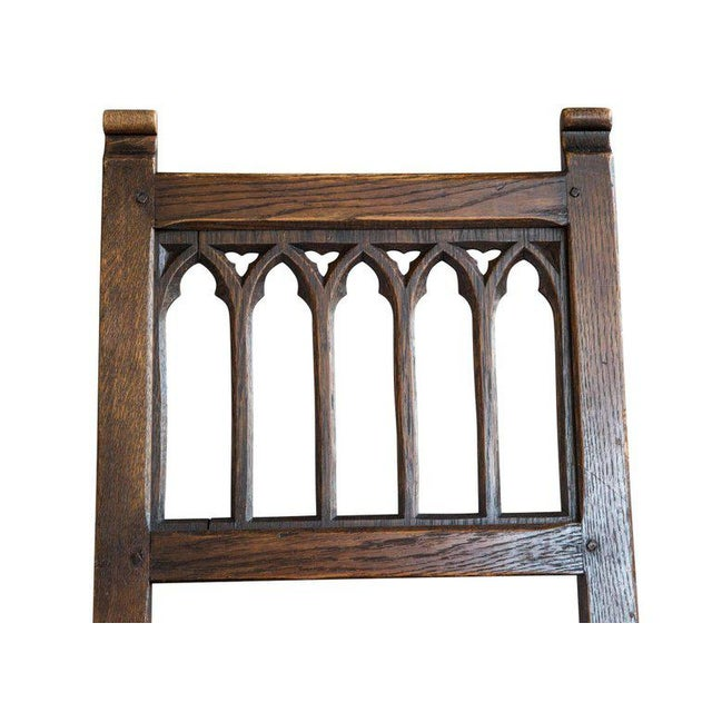 Set of Six Oak Gothic Revival Pew Chairs from Riverside Church - Image 7 of 11