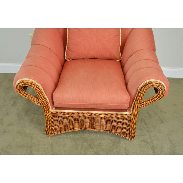 Pierce Martin Quality Pair Rolled Arm Wicker Lounge Chairs For Sale - Image 9 of 13