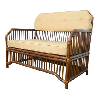 1980s Vintage Rattan Settee in the Manner of Willow and Reed For Sale