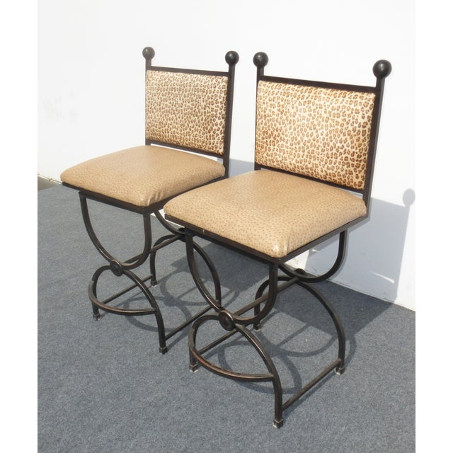 Wrought Iron Swivel Bar Stools - A Pair - Image 4 of 9
