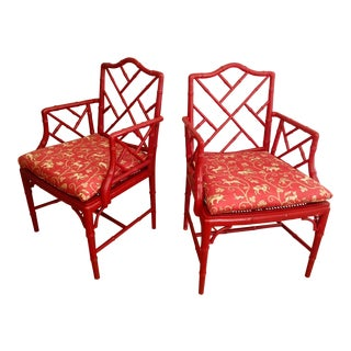 Faux Bamboo Chinese Chippendale Armchairs - Pair