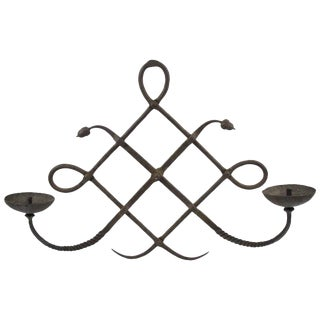 Italian Designer Modarchitectura Wrought Iron Wall Candleholder Sconce For Sale