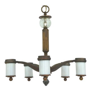 French Art Deco 5-Light Chandelier W/ Glass & Crystal Sphere For Sale