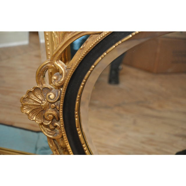 Oval Black & Giltwood Trim Mirror - Image 3 of 3