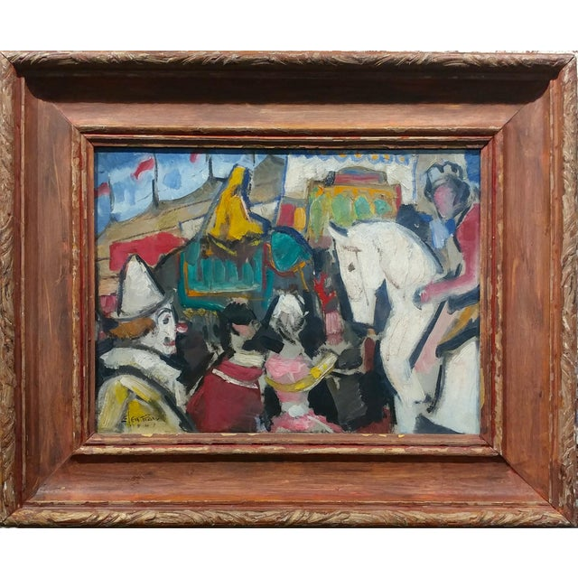 Glen Tracy - Ready for the Spectacle! the Circus - Oil Painting 1947 oil painting on board -signed and dated - titled in...