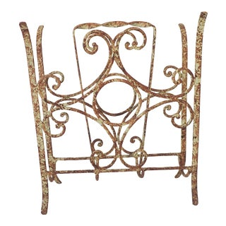 Rustic Outdoor Iron Magazine Rack For Sale