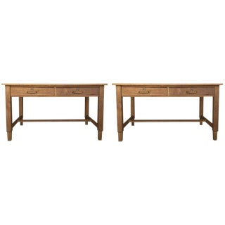 Mid Century Modern Pair of Pine Desk With Two Drawers For Sale