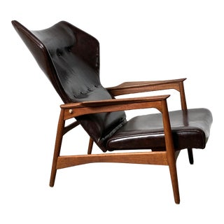 Ib Kofod Larsen Leather Reclining Lounge Chair 1960's For Sale