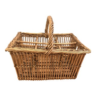 French Bamboo and Wicker Bottle Carrier For Sale